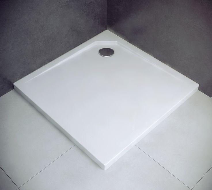 Doskonały brodzik kwadratowy 90x90cm, biały z narożnym odpływem. Wykonany z odlewu mineralnego. Wysokość 2cm !, Model : #PMD #Besco #Acro