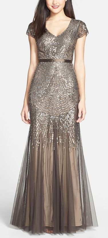 Beaded mesh v-neck dress by Adrianna Papell http://rstyle.me/n/vehbnn2bn