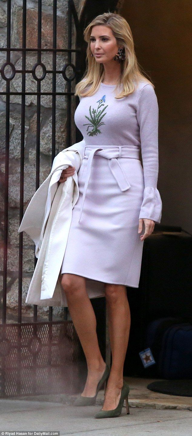 Spring-themed: Ivanka Trump was seen this morning leaving her house in Washington, D.C. wearing light hues from a pale pastel purple to a bright white