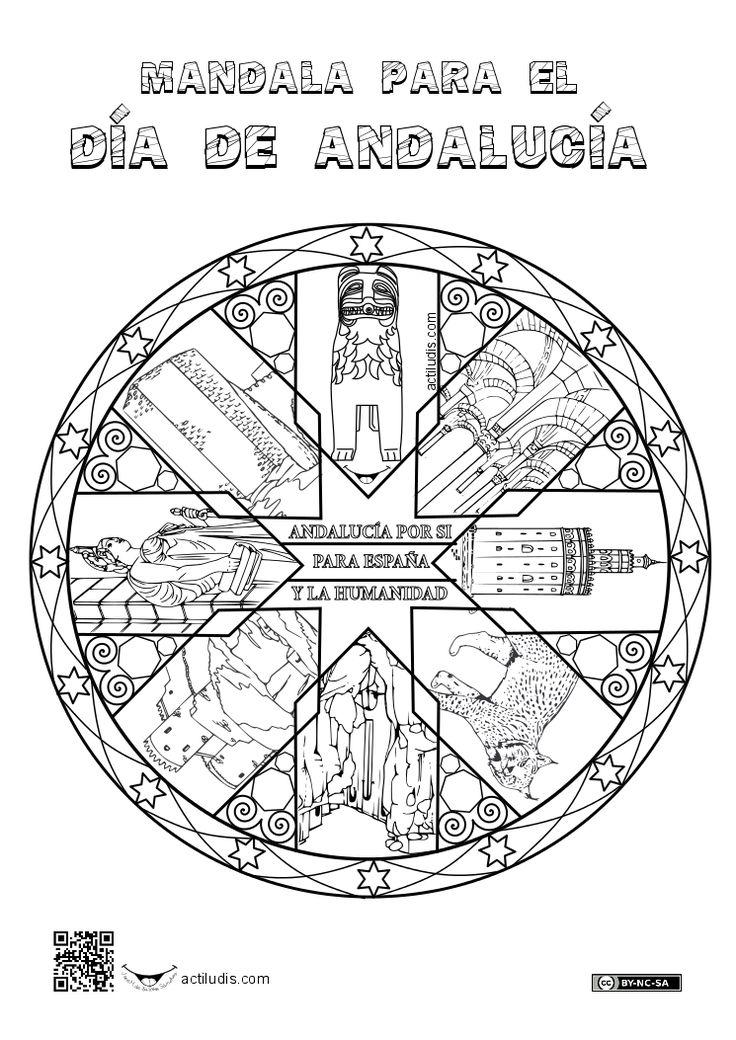 Para este curso he preparado una mandala dedicada a Andalucía. Espero que os guste. En ella incluyo elementos fácilmente reconocibles de cada provincia, siguiendo el sentido horario: León de la fuente de los leones (Granada), Arcos mezquita catedral (Córdoba), Torre del oro (Sevilla), Lince del ParqueDoñana (Huelva), Tajo de Ronda …
