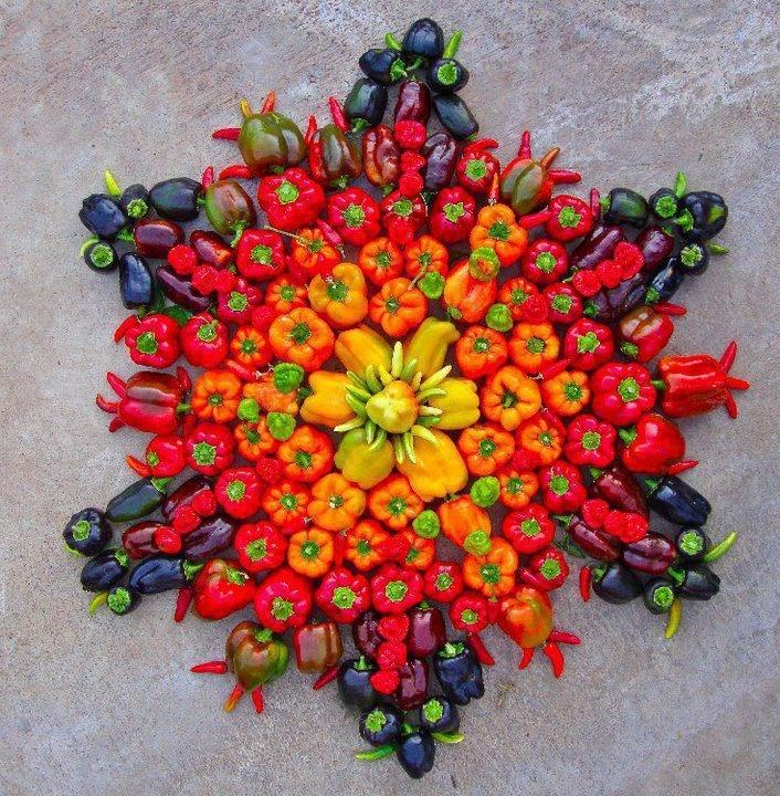 Frutas decorativas.: Food Festivals, Fruit, Flowers Mandala, Belle Peppers, Vibrant Colors, Edible Art, Veggie, Foodart, Food Art
