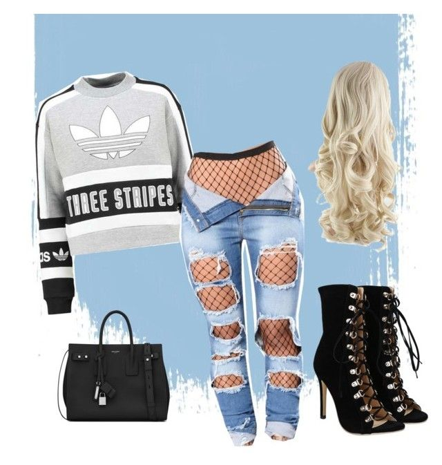 Off work by ingridlundevall on Polyvore featuring polyvore, fashion, style, adidas Originals, Yves Saint Laurent and clothing
