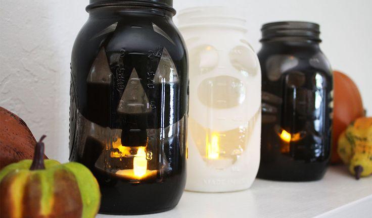 DIY Halloween Mason Jar Luminaries