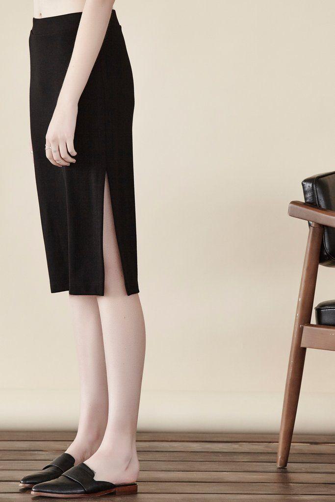 Double Ponte Side Slit Skirt