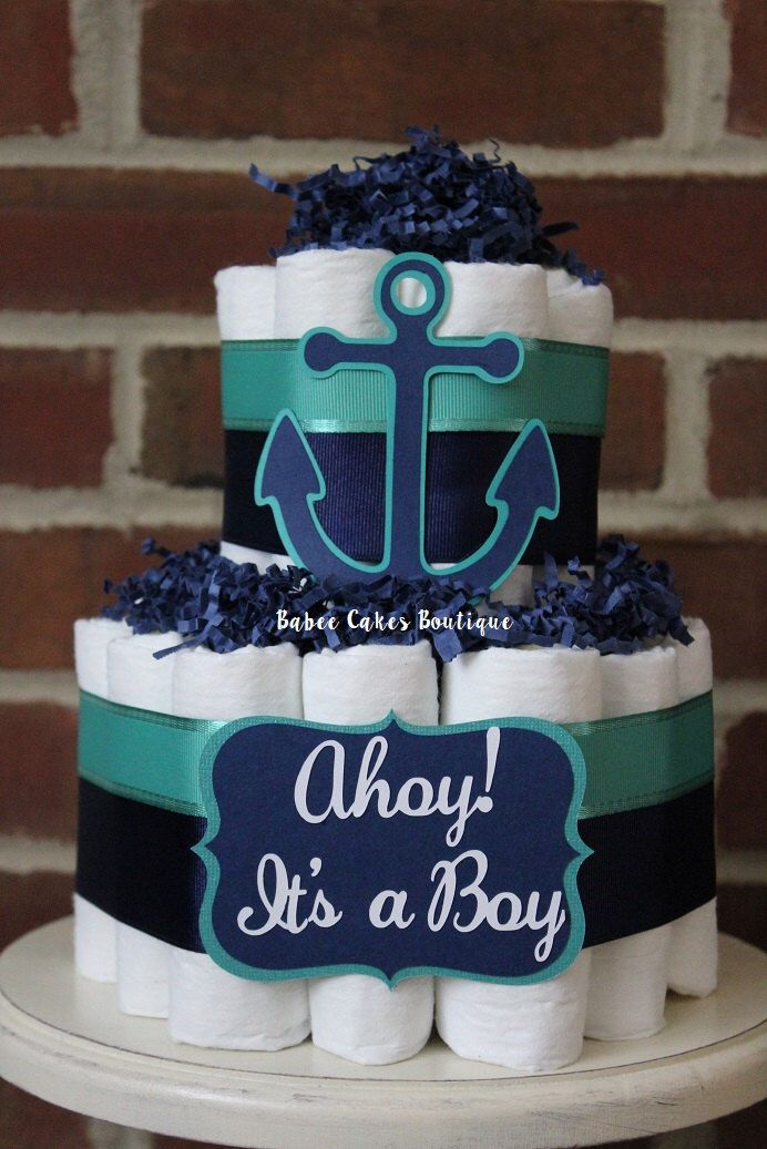 READY TO SHIP - 2 Tier Navy and Teal Nautical Diaper Cake, Boy Baby Shower, Nautical, Anchor, Nautical Baby Shower, Ahoy It's a Boy by BabeeCakesBoutique on Etsy https://www.etsy.com/listing/246016431/ready-to-ship-2-tier-navy-and-teal