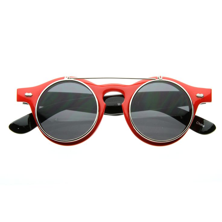 - Description - Measurements - Shipping - Retro steampunk inspired glasses that feature flip up lenses and keyhole nose bridge. Extremely unique design that are sure to stand out and make a statement.