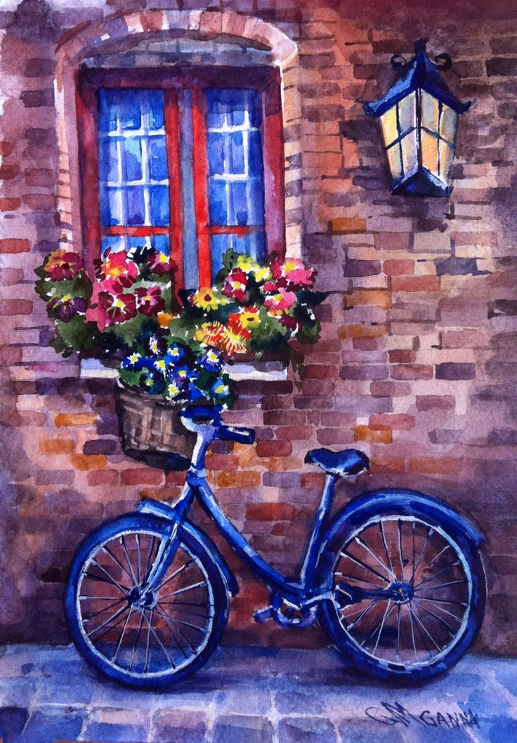 Cityscape Bicycle with flowers, brick wall, lantern,ORIGINAL WATERCOLOR Free Shipping Worldwide by alisiasilverART on Etsy