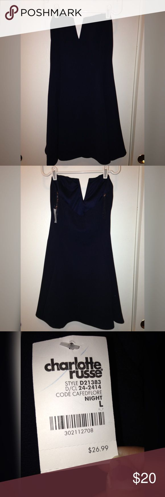 NWT Navy Blue Strapless Party Dress This cute dress is perfect for a nice night out! It starts out slightly fitted at the top then flares out. Feel free to make an offer, I'm open to any and all. Charlotte Russe Dresses Strapless