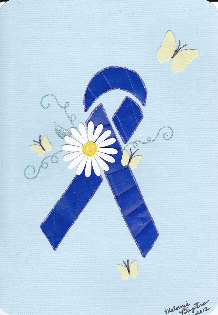 Iris folded blue ribbon made to help raise awareness for Gardner Syndrome which caused the colon cancer my sweet friend died from.