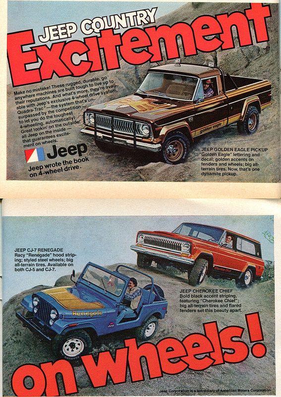 1978 AMC Jeep Cherokee Chief CJ-7 Renegade Golden Eagle Pickup Advertisement…