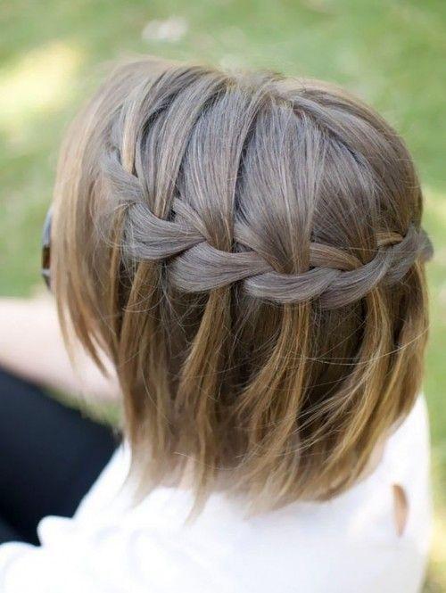 Коса водопад на волосах средней длины