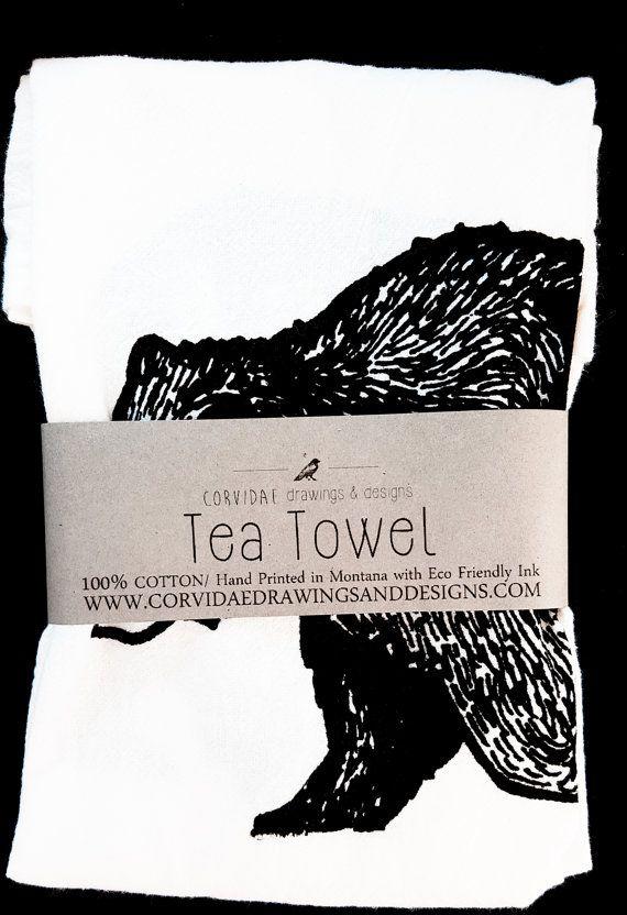 Grizzly Bear Bär Hand gedruckt Geschirrtuch / von Corvidaedrawings
