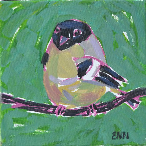 Original oil bird painting / bird painting / by NielsenDenmark