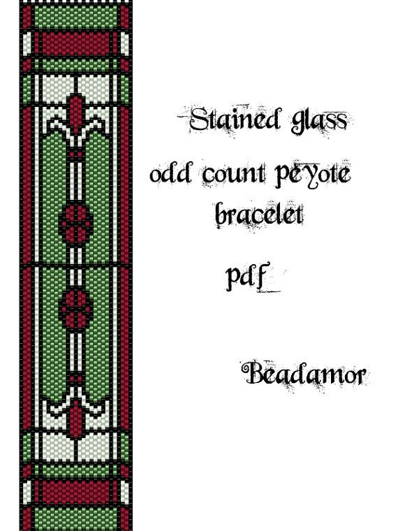 Peyote Pattern for bracelet: Stained Glass INSTANT by Beadamor