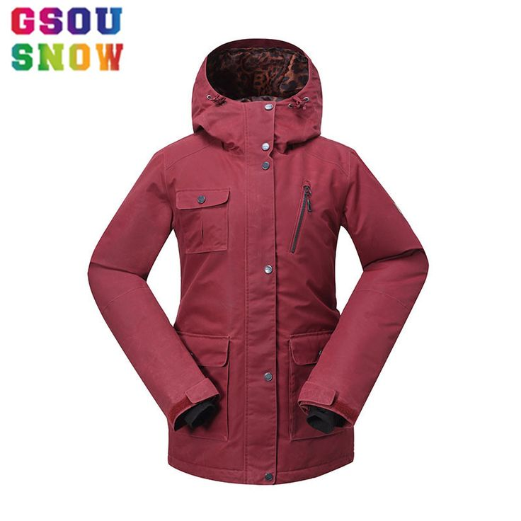 2017 Gsou Snow Women's Ski Jacket Winter Female Snowboard Jacket Cotton Red Snow Coat Waterproof Windproof Plus Size Ski Clothes