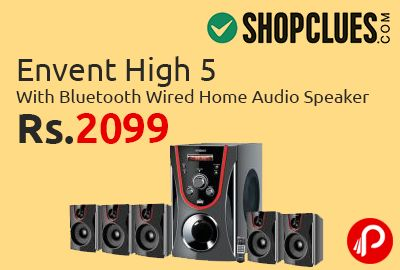 """Shopclues is offering Envent High 5 with Bluetooth Wired Home Audio Speaker at Rs.2099. Extra 5% cashback on MobiKwik wallet. 50W RMS, Audio input through AUX/ USB or Bluetooth BLUETOOTH enabled. Plays music wireless from almost all Smartphones including IPHONE 6 4"""" Woofer Driver & 3"""" Speaker Driver. VOLUME, BASS and TREBLE control knobs to get the sound you want.   http://www.paisebachaoindia.com/envent-high-5-with-bluetooth-wired-home-audio-speaker-at-rs-2099-shopclues/"""