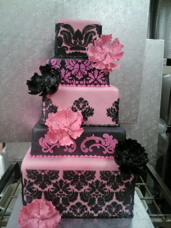 black and pink wedding cake ideas damask pink and black square wedding cake chelsea s 11819