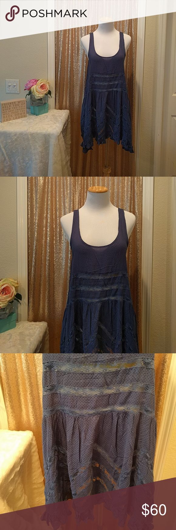 """Free People Blue and Black Voile and Lace Trapeze Item Description:  Free People Blue and Black Voile and Lace Trapeze Slip