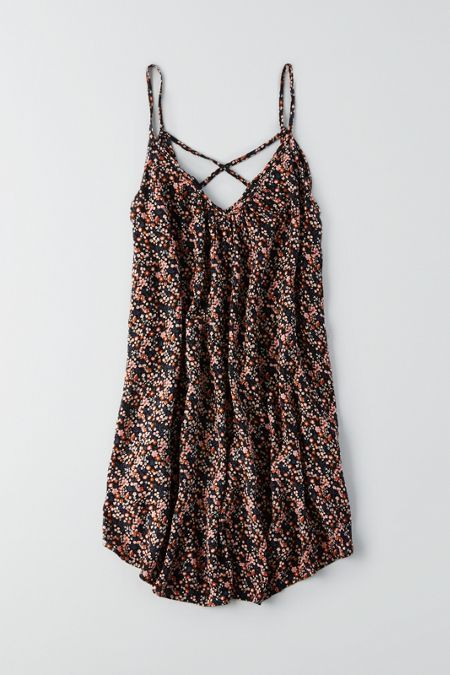 AEO Print Swing Dress, Black | American Eagle Outfitters