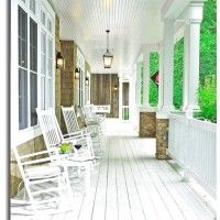Some Front Porch Floor Ideas For Your Inspiration : Stunning Image Of Front Porch Decoration Using White Wood Front Porch Flooring Including Light Brown Stone Front Porch Wall Panels And White Wood Front Porch Rocking Chairs