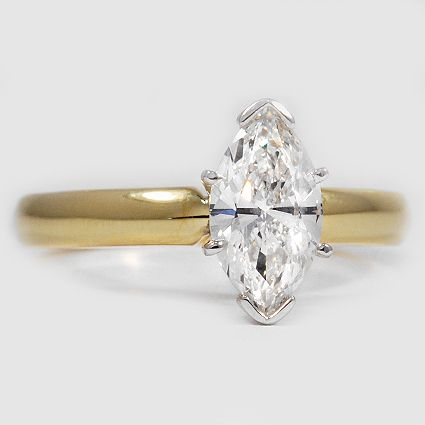 18K Yellow Gold 3mm Comfort Fit Ring Setting // Set with a 1.00 Carat, Marquise,…