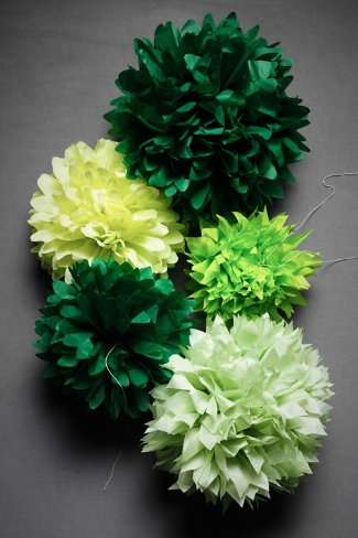 I love these poofs.  So easy to make and they add so much color and texture.