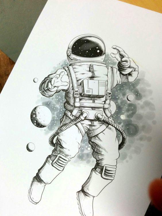 Когда космос так и влечет тату, ЛЛТ, космос, космонавт, длиннопост, эскиз