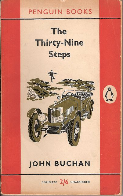 The Thirty-Nine Steps by John Buchan. Penguin Books, 1956 edition, cover illustration by Stephen Russ.