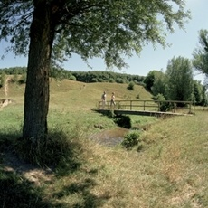 Wandelen over bruggetje in Limburg