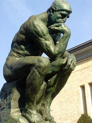 """El pensador es una escultura de Auguste Rodin, se encuentra en el Museo de Rodin.  Su estilo es impresionista y la técnica utilizada es la de fosa.  """"El pensador"""" está fundido en bronce y fue terminado en 1880."""