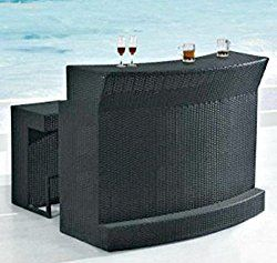 Outdoor Patio Bar Set 3 Piece 1 Glass Top Bar Table 2 Cushioned Bar Stools PE Resin Wicker Rattan