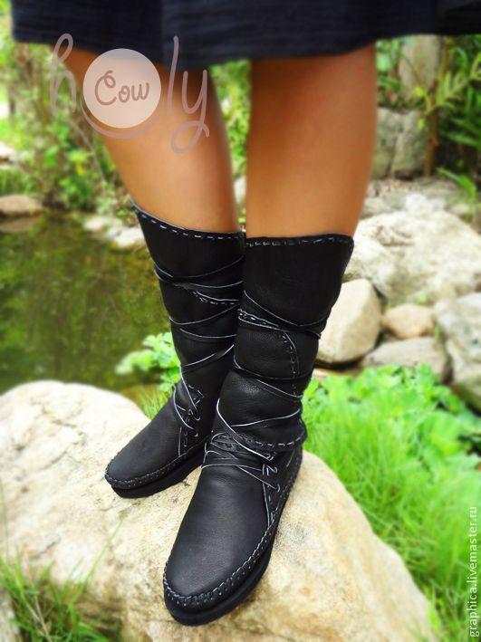 """Купить Кожаные мокасины """"Classic Black"""" - черный, мокасины, кожаные сапоги, сапоги женские"""