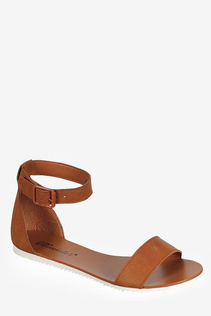 Buckle Ankle Strap Flat Sandals - Tan