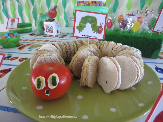 Eric Carle Inspired Sandwiches. Bring the really hungry caterpillar to class and each student gets a mini sandwich!  Easy enough to make your child's favorite sandwich in this mini version and use a round cookie cutter to make each segment.