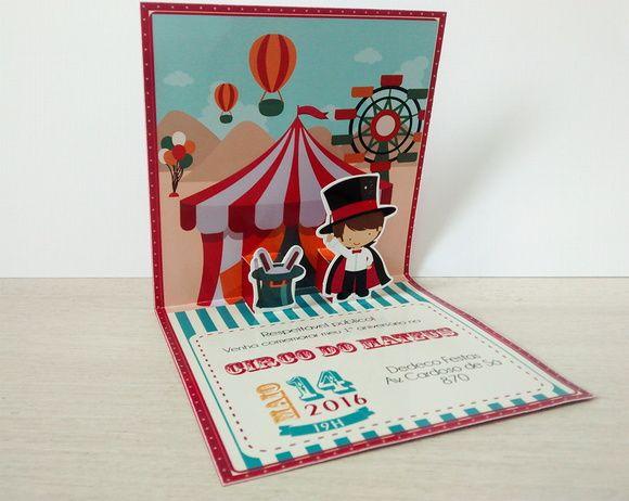 Convite Pop Up 3D Circo