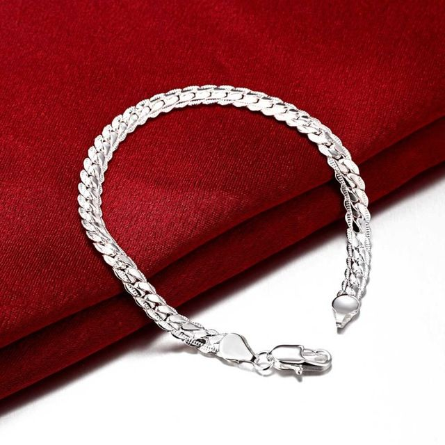 Высокое качество мода посеребренная браслет мужской 5 ММ плоским боком цепи 2016 новые горячие продажи ювелирных изделий лучшие подарки Бесплатно доставка