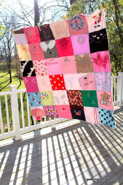 Baby Clothes memory blanket. Thinking about keeping a shirt from every year in school... Maybe two. Then put it together for a senior gift