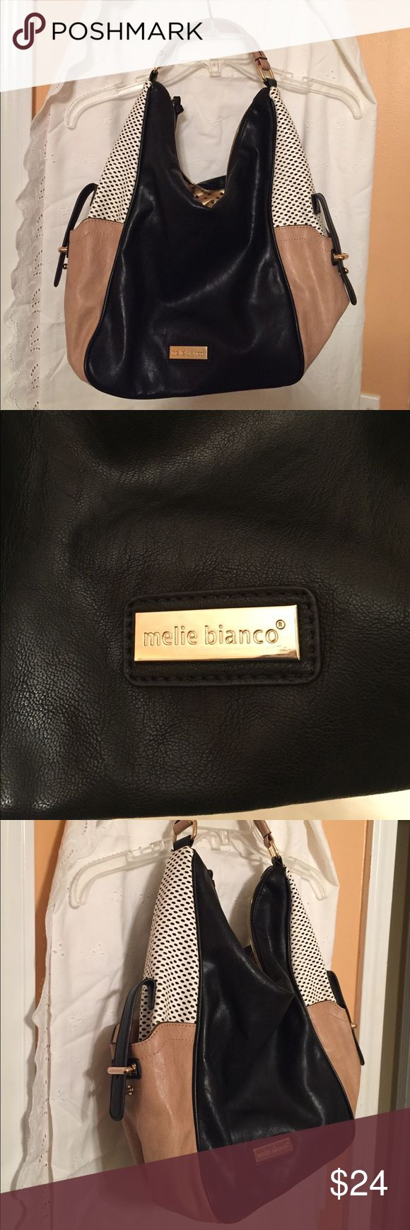 Melie Bianco Handbag Black khaki with white perforations shoulder bag. Detachable white perforated purse. Brown polka dot lining. Melie Bianco Bags Shoulder Bags
