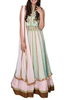 Pink And Mint Jacket Lehenga Set by Ishani Kamdar, Lehengas