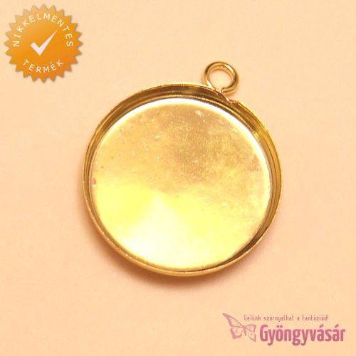 Aranyszínű, 25 mm-es kerek medál alap • Gyöngyvásár.hu