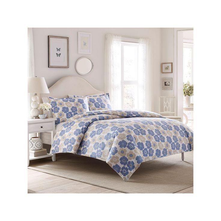 Laura Ashley Lifestyles Poppy Bloom Flannel Duvet Cover Set, Blue
