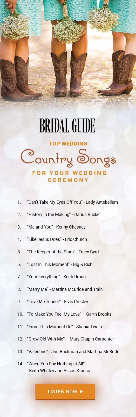 Check out our countdown of the top country songs to play during your wedding ceremony! #CountryWedding #WeddingSongs #WeddingMusic from #BridalGuide