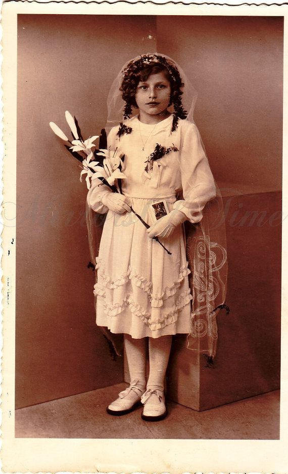 Vintage Photo  Girl Portrait  First Communion by MirrorsOfTime