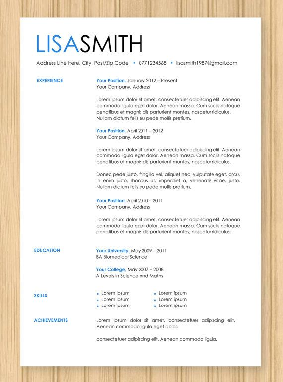 cv resume modern blue template instant word by zeendesigns on etsy