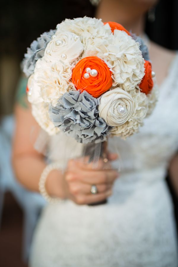 Fabric Flower Bouquet  Orange & Grey. looks like a lollipop. pearls not good. colors too different.