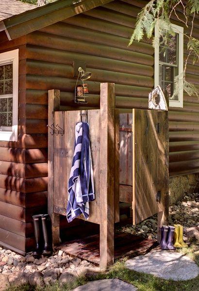 Outdoor shower - A Comfy Northwoods Cabin Renovation - Cabin Life magazine - Photo by Rick Hammer, courtesy Lands End Development & BeDe Design
