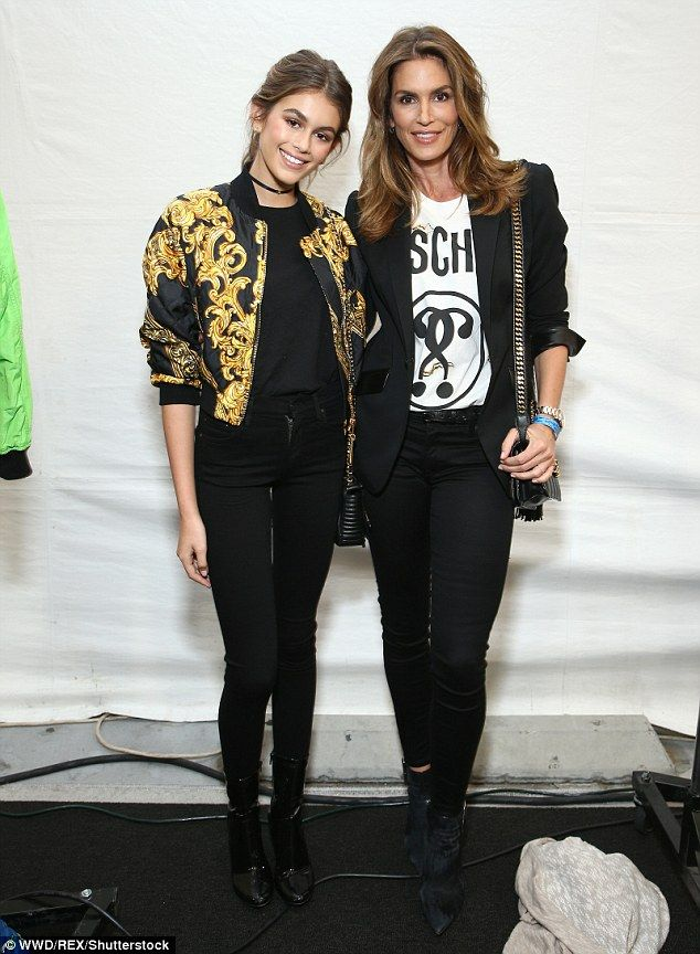 Close pair: Cindy Crawford, 50, and her daughter Kaia Gerber, 14, were showing off their i...