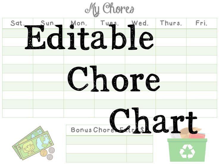 chores  chores  chores    free editable chore chart