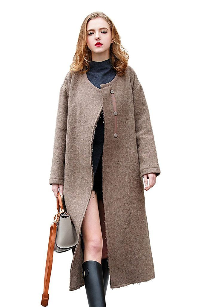 1fb681a5795 U Women s New Brown Wool Blends Outerwear Fashion Trench Coat Front Open