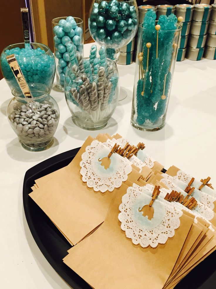 Grey and teal baby shower candy bar. More